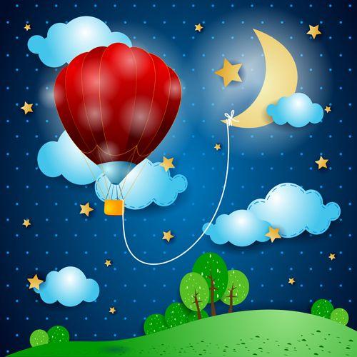 Cartoon Night Vector 04 Pintura Em Fraldas Imagens Fofas Como Fazer Flores