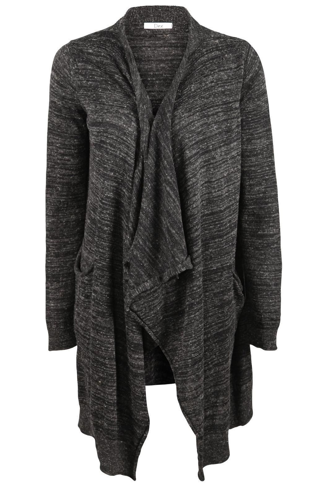 Waterfall Dex Cardigan in black-grey mix with two pockets ...