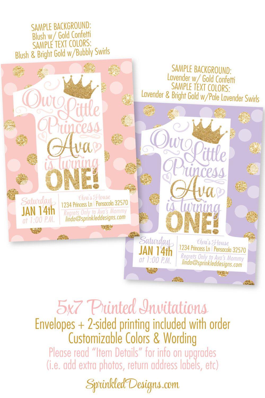 Blush Pink Gold Glitter Lavender 1st Birthday Invitations BIG ONE Princess Invitations First Birthday Girl Princess Birthday Invitations