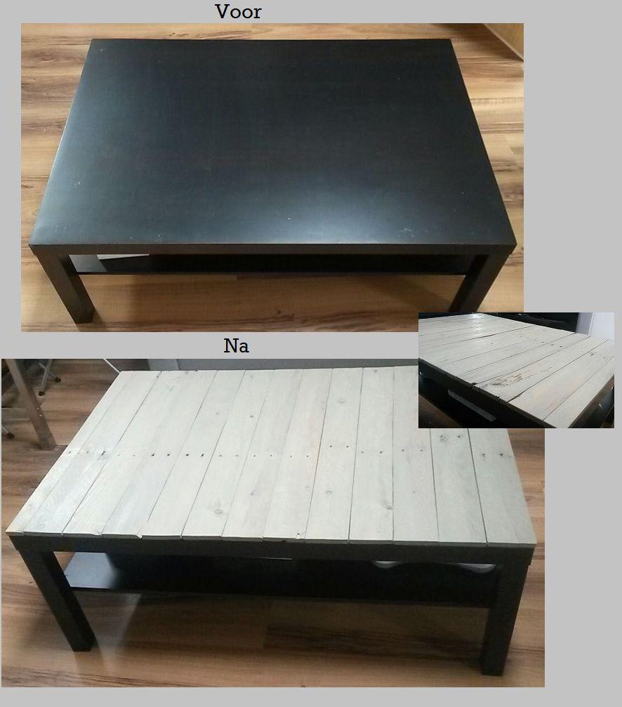 Ikea lack tafel met grey wash pallet blad de huiskamer for Pallet ikea