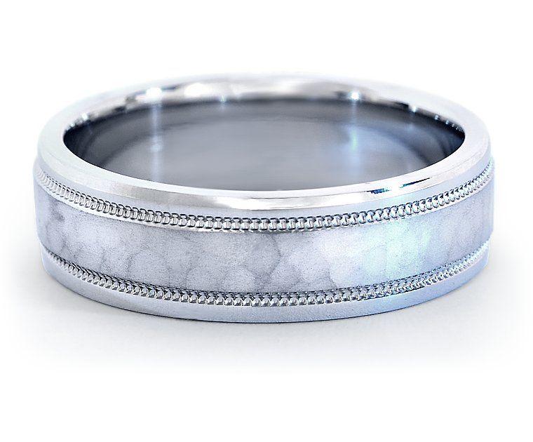 Hammered Finish Milgrain Wedding Ring In Platinum 6mm Blue Nile
