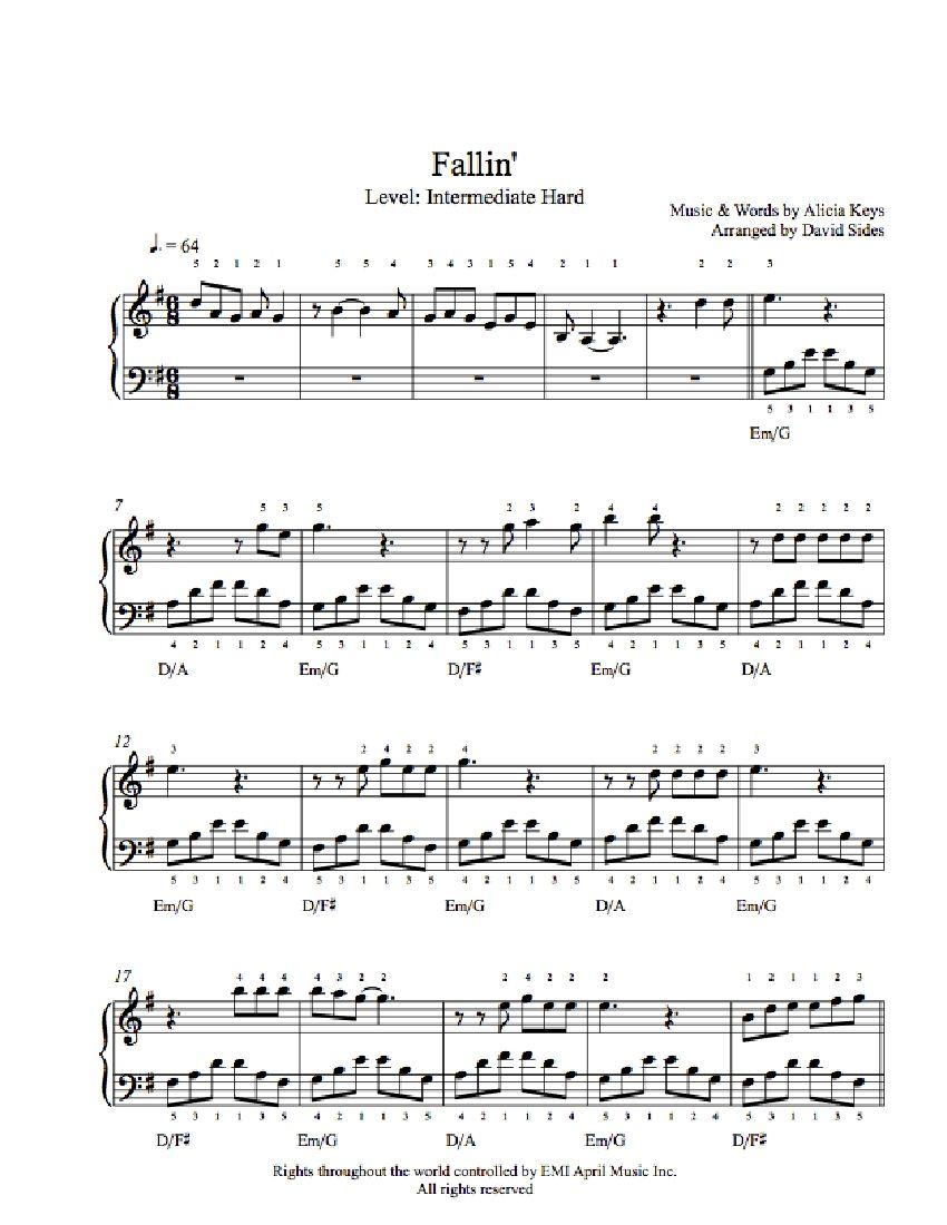Fallin By Alicia Keys Piano Sheet Music Intermediate Level