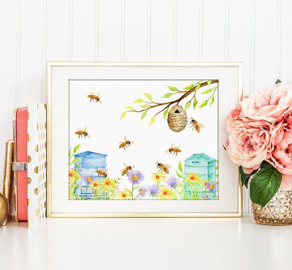 Watercolor Bee Keeping Print For Instant Download Printable Kitchen Decor Art Print Bee Printable Bee Art Nursery Art Prints Bee Print