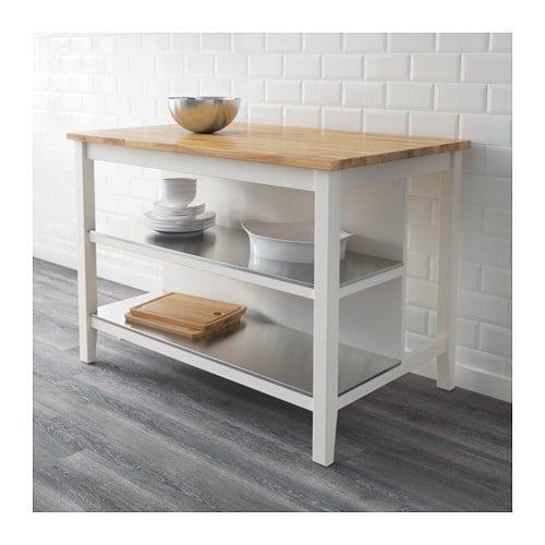 STENSTORP Kitchen island, white, oak Kitchen ideas Pinterest