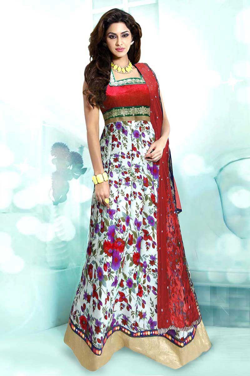 Multi bhagalpuri silk long anarkali salwar kameez products
