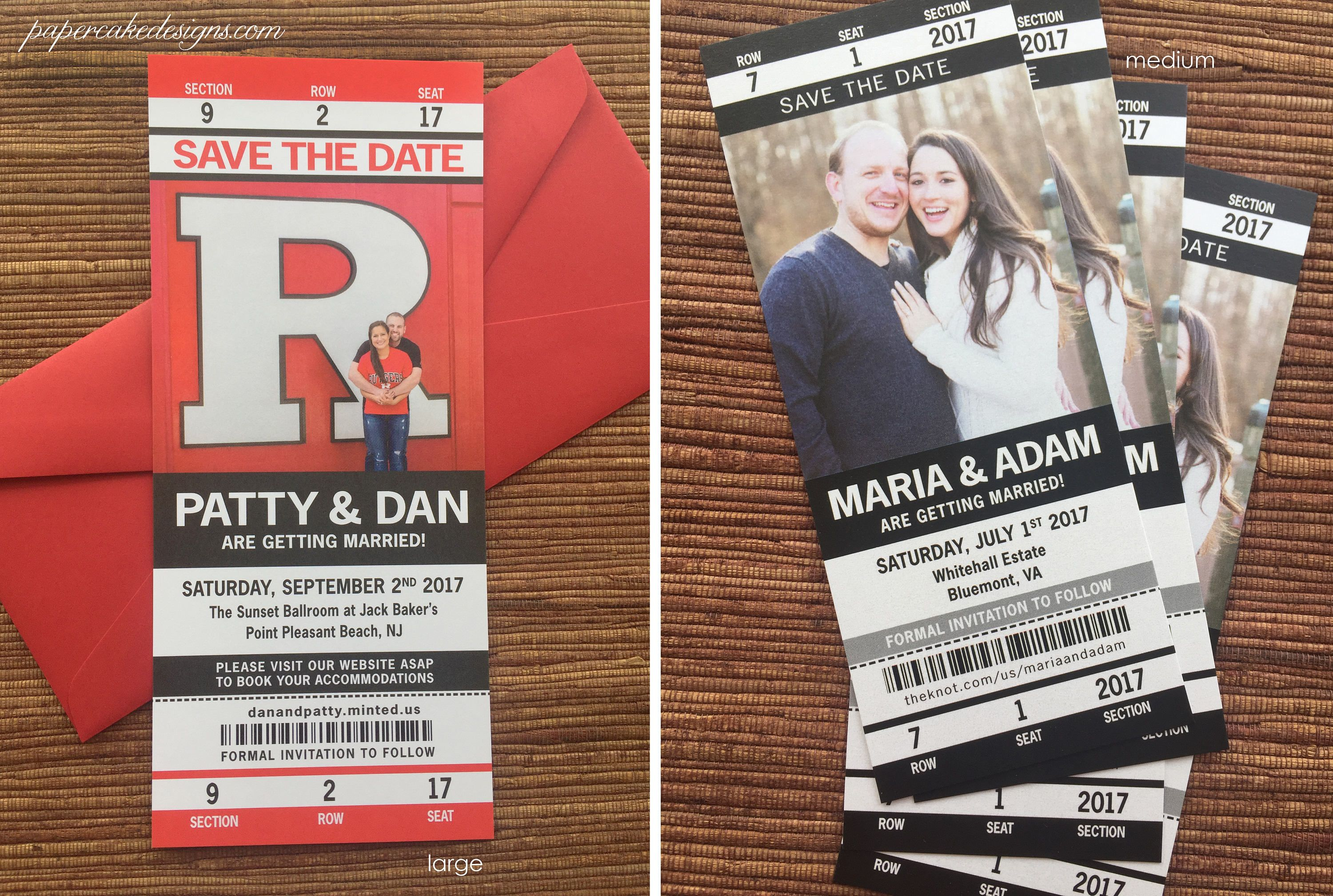 Sport Ticket Wedding Save the Date or Invitation / football ...
