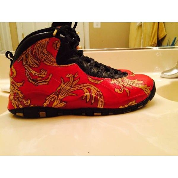 bb2c8634f3f9e9 Jordan 10 Size 9 Custom Red Supreme Foamposites Foam Versace ( 320) ❤ liked  on Polyvore featuring shoes