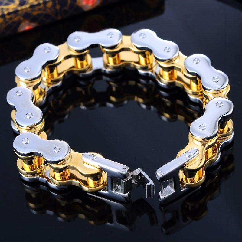 778bdad026e7 Cheap Punk pulsera acero inoxidable oro plateado hombres Biker bicicleta de  la motocicleta cadena pulseras regalos moda 20 cm