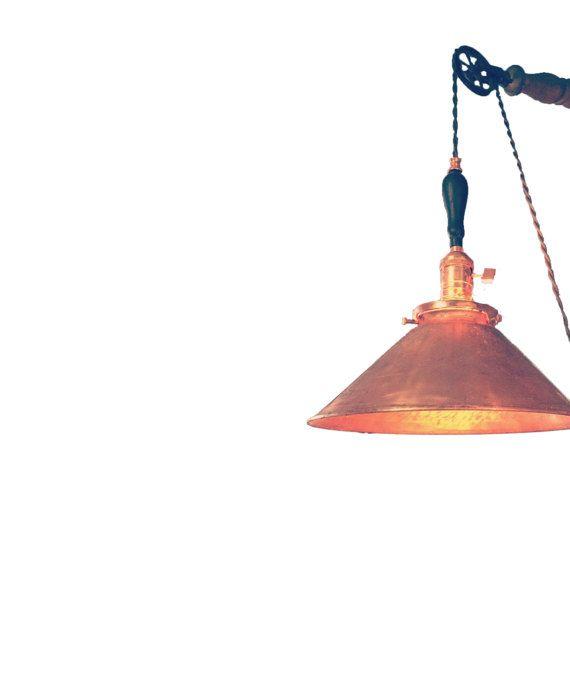 Copper Pulley Fixture | Burgundy Wire | Ebony Oak Pulley Fixture ...
