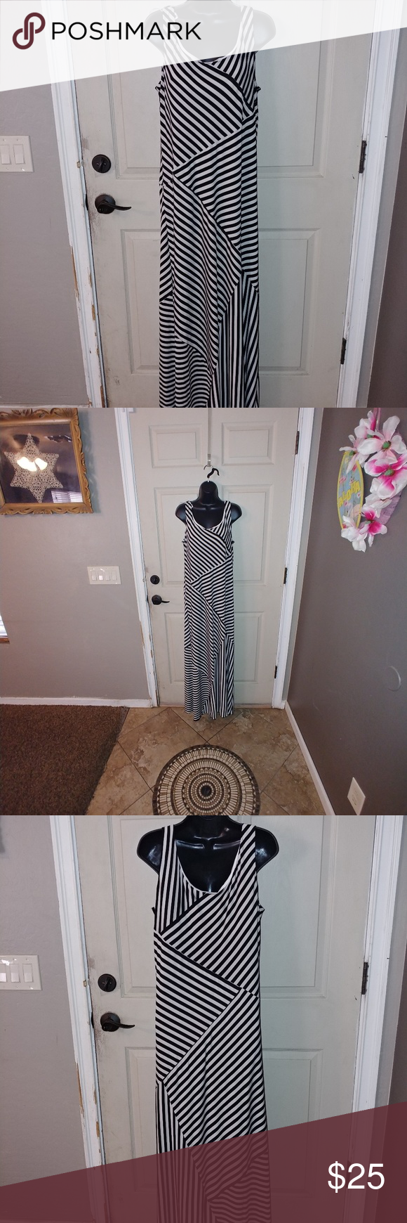 Black and white maxi dress Long maxi dress Size XL Black and white stripes Built in material around breast area ***************** 1-08022018 Alyx Dresses Maxi