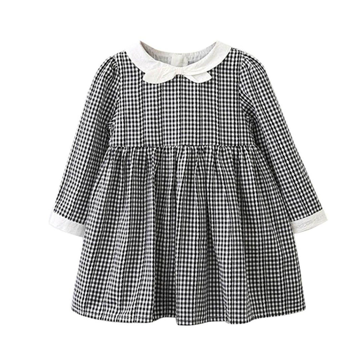 Amazon.com: Sunsee Baby Girls Long Sleeve Plaid Bowknot Party ...