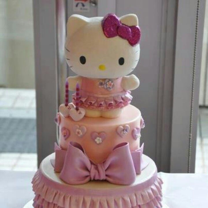 Hellow Kitty Burf Day cake so so cute Baybee shower and