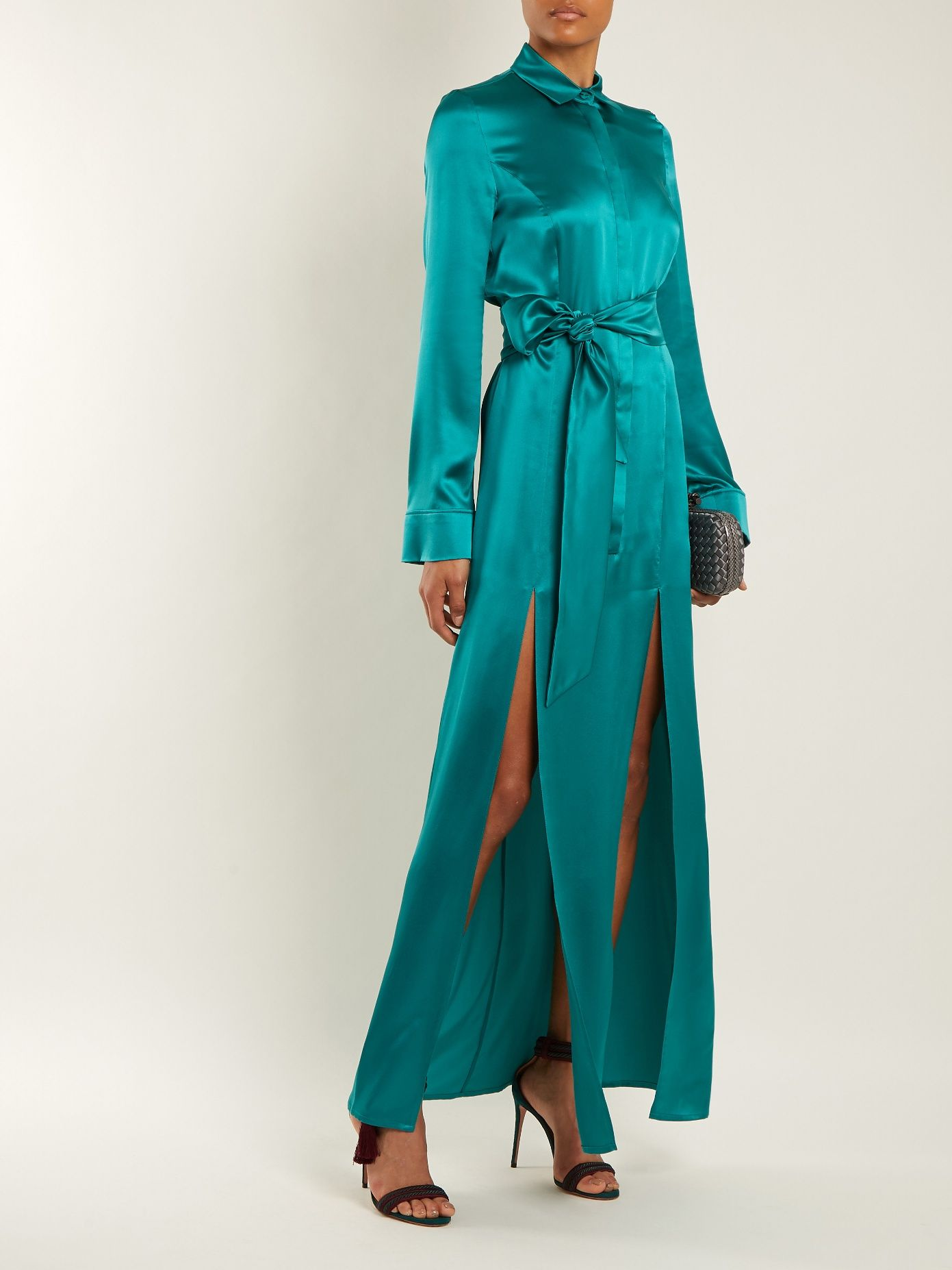Laguna tie-waist silk-satin dress Galvan Buy Cheap Low Price 7qB92