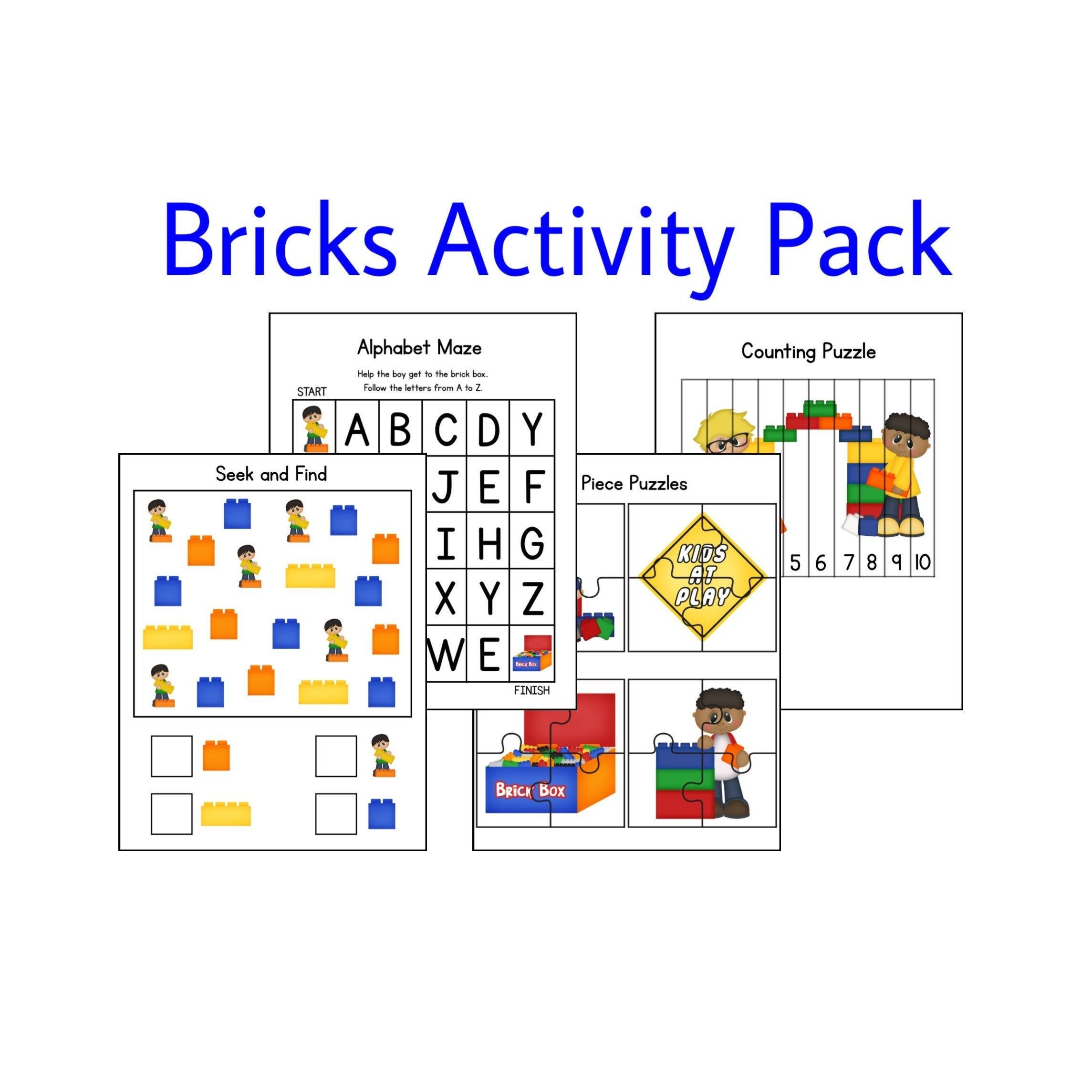 Bricks Activities Learning Games Counting Number Puzzles