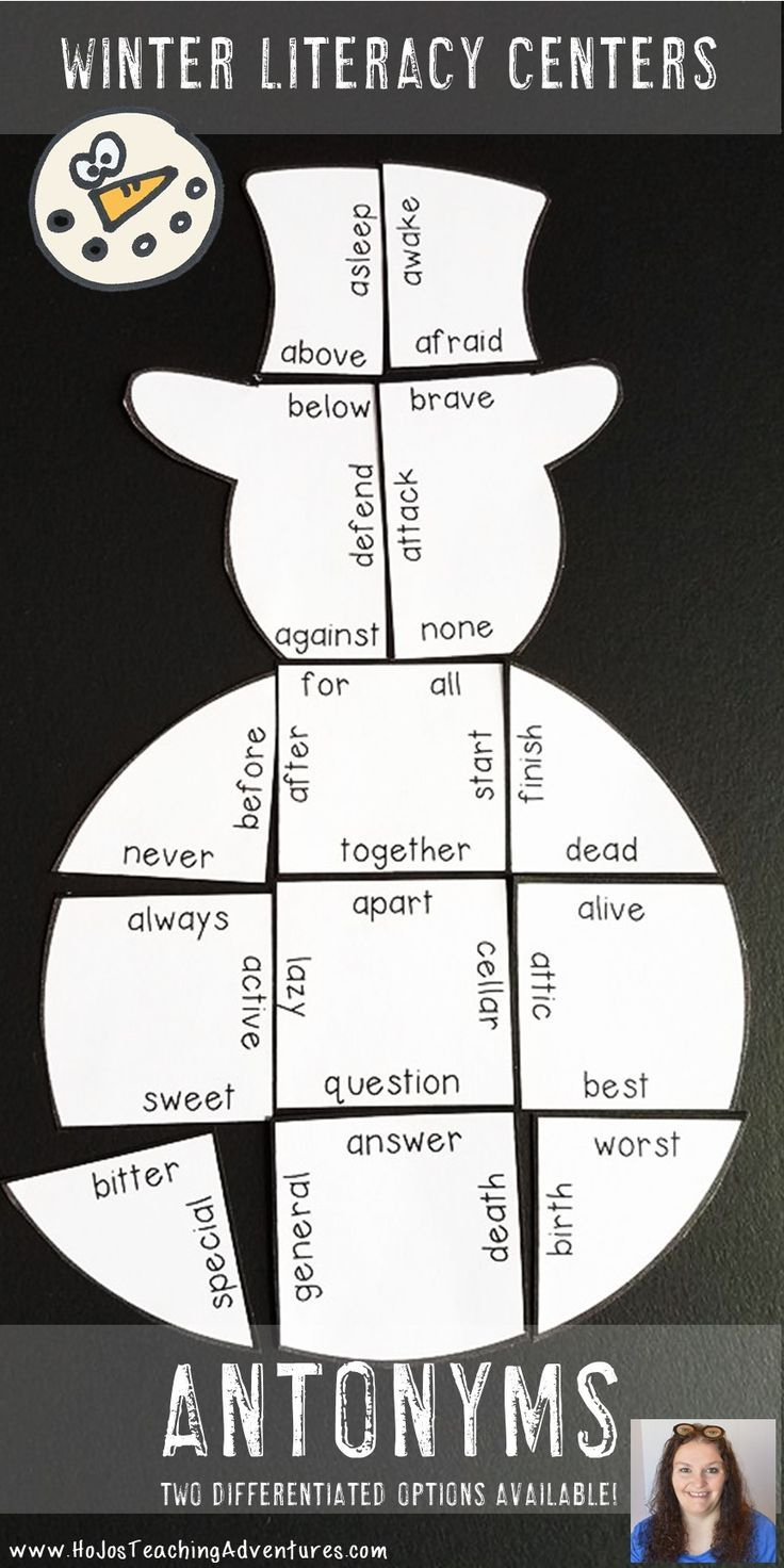 Winter Literacy Centers Antonyms Snowman Puzzle Differentiated