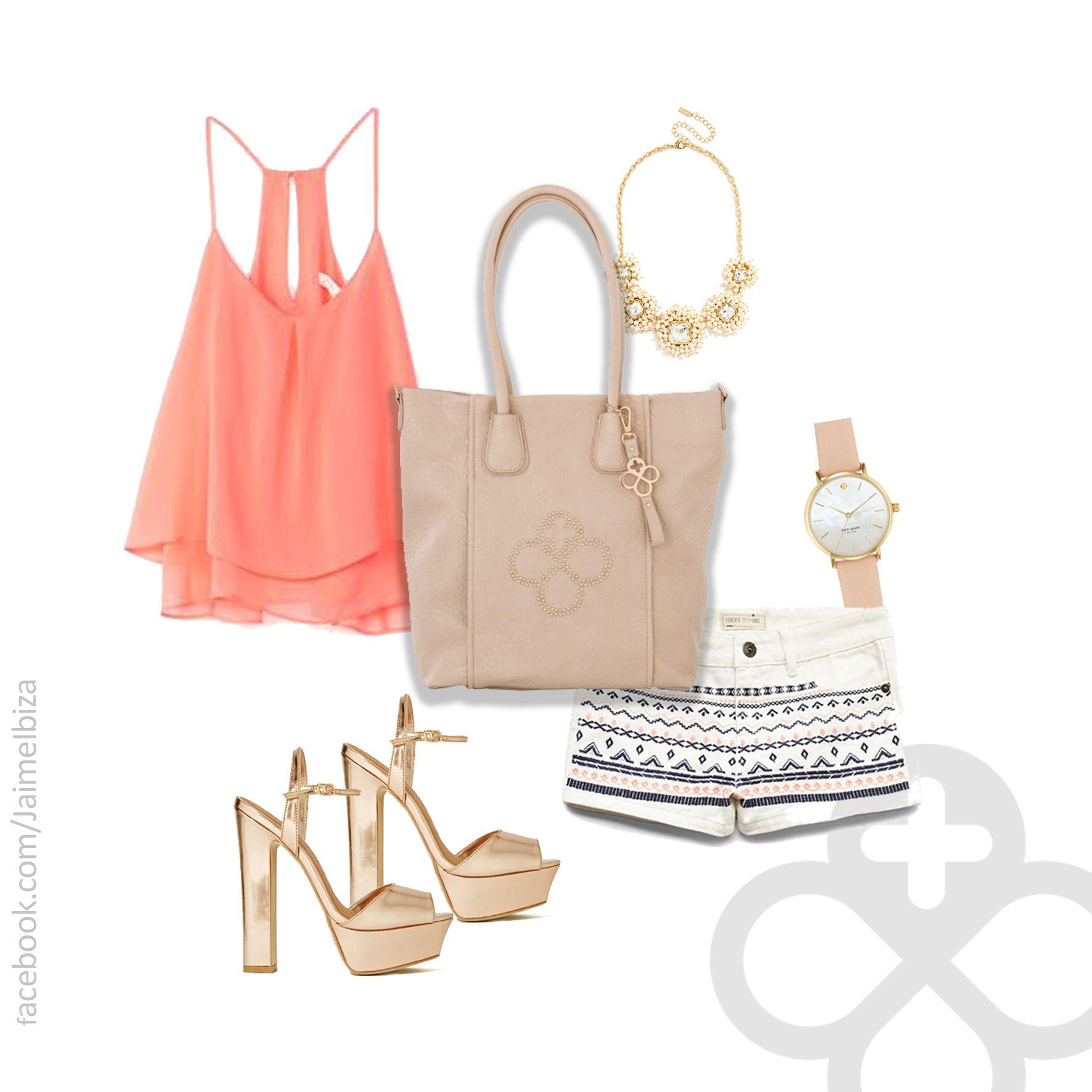 """¡Sigue la tendencia """"étnica"""" usando un short con bordados! Tu bolso #JaimeIbiza en color beige es perfecto para esta ocasión! #bolso #JaimeIbiza #Jaime #Ibiza #bolsa"""