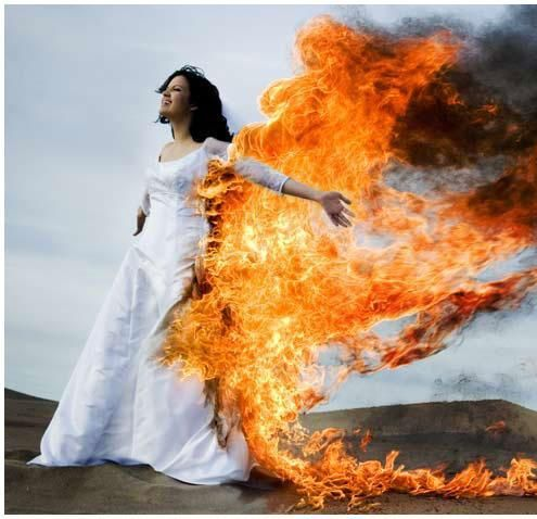 Eeek Lets Never Do This Ok Image Detail For Trash The Dress On Fire Wedding Tradition