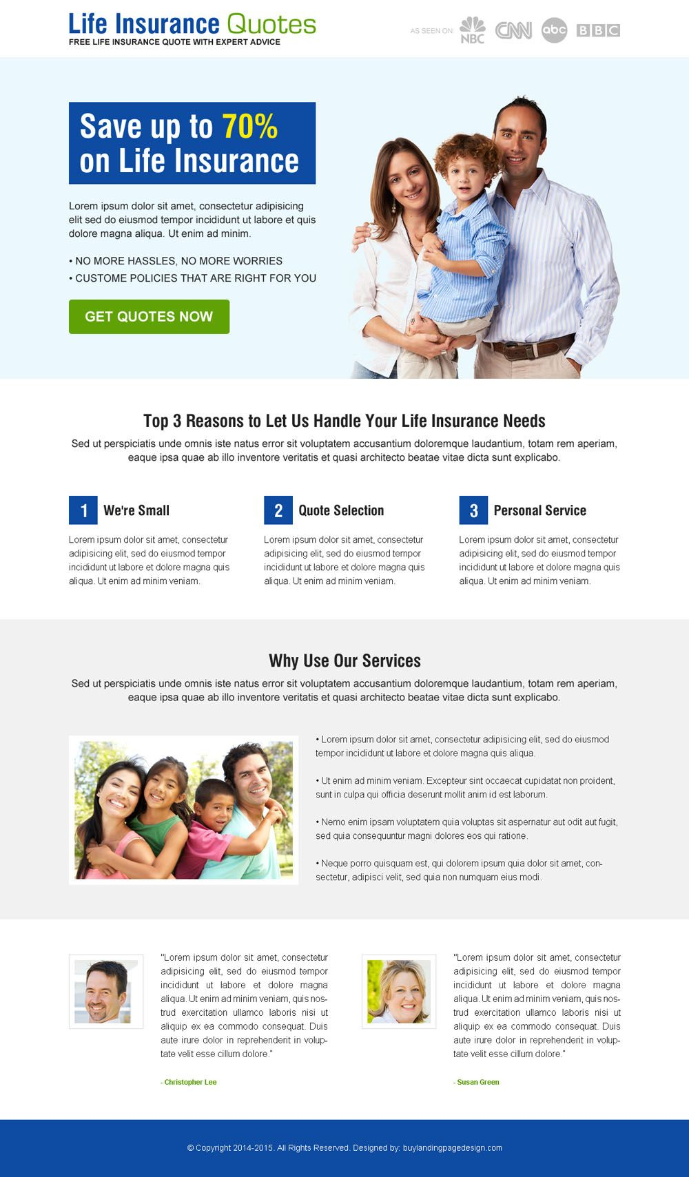 Get A Life Insurance Quote Life Insurance Quote Clean Call To Action Responsive Landing Page