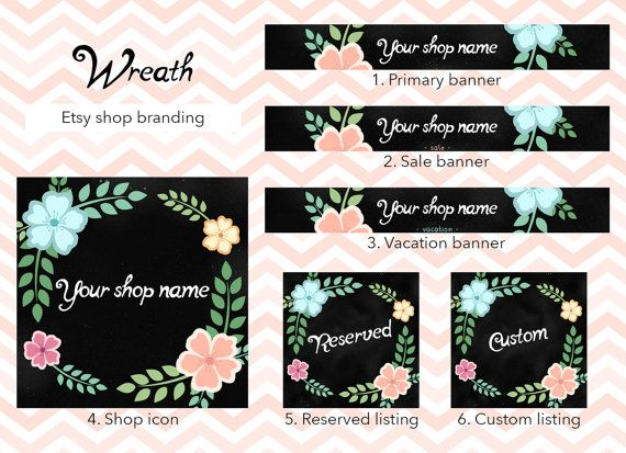 Etsy shop banner set, shop banner package, wreath shop banner, flowers floral, shop graphics, shop icon banner, custom reserved listings by GiuliaBelfioriGadget