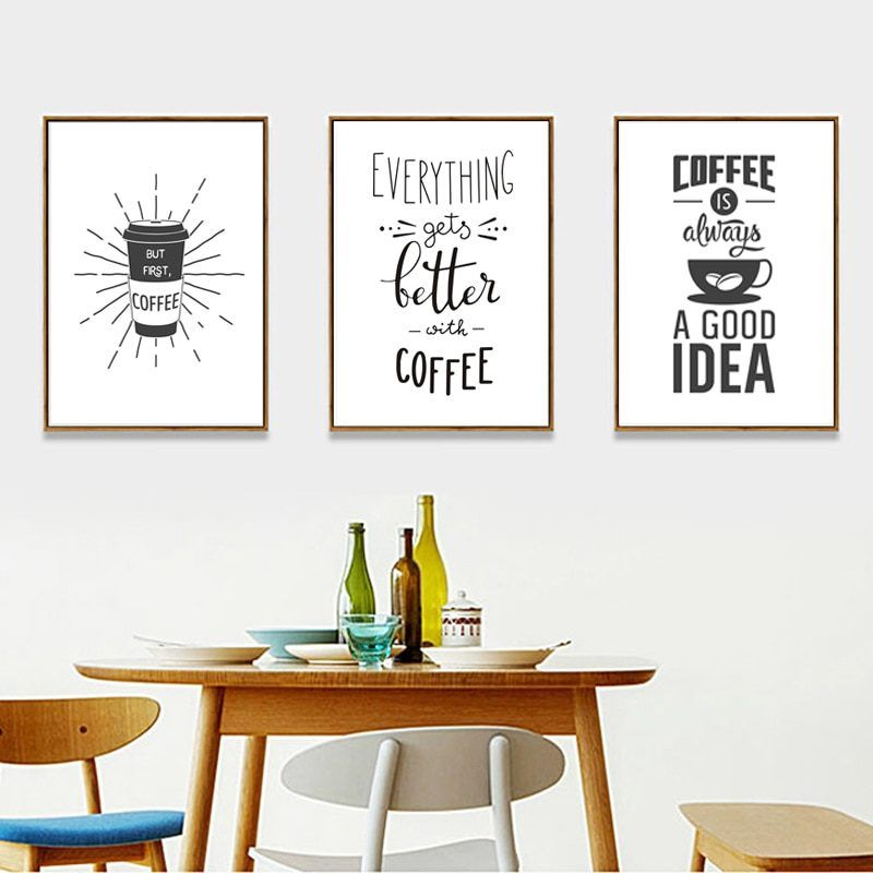 Coffee Is Always A Good Idea Kitchen Canvas Paintings Black And White Posters Prints Nordic Wall Art Pictures For Home Decor White Canvas Art Black And White Posters Kitchen Canvas