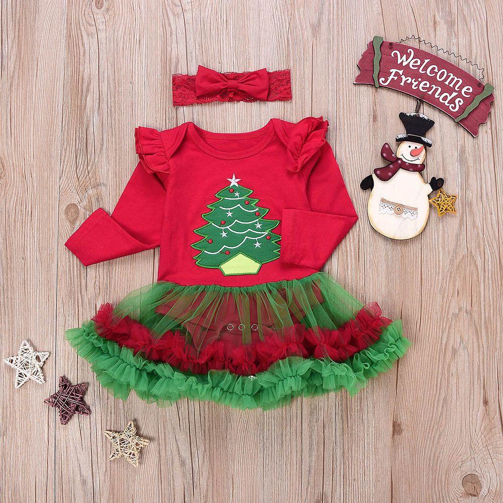 Children s Christmas fun Newborn Infant Baby Girl Romper Tutu Dress