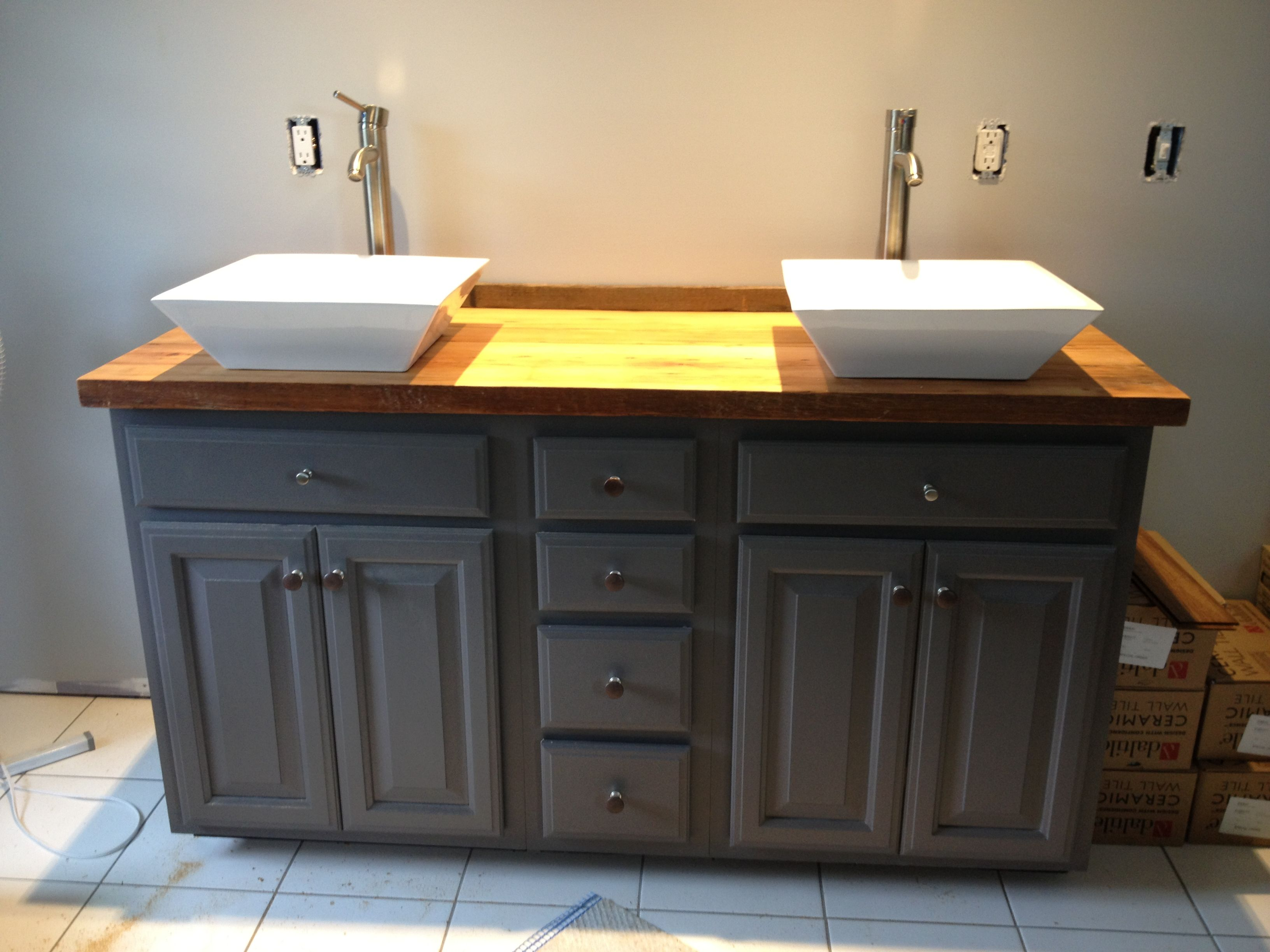 Diy bathroom vanity used the barn wood hemlock pieces for Recycled bathroom sinks