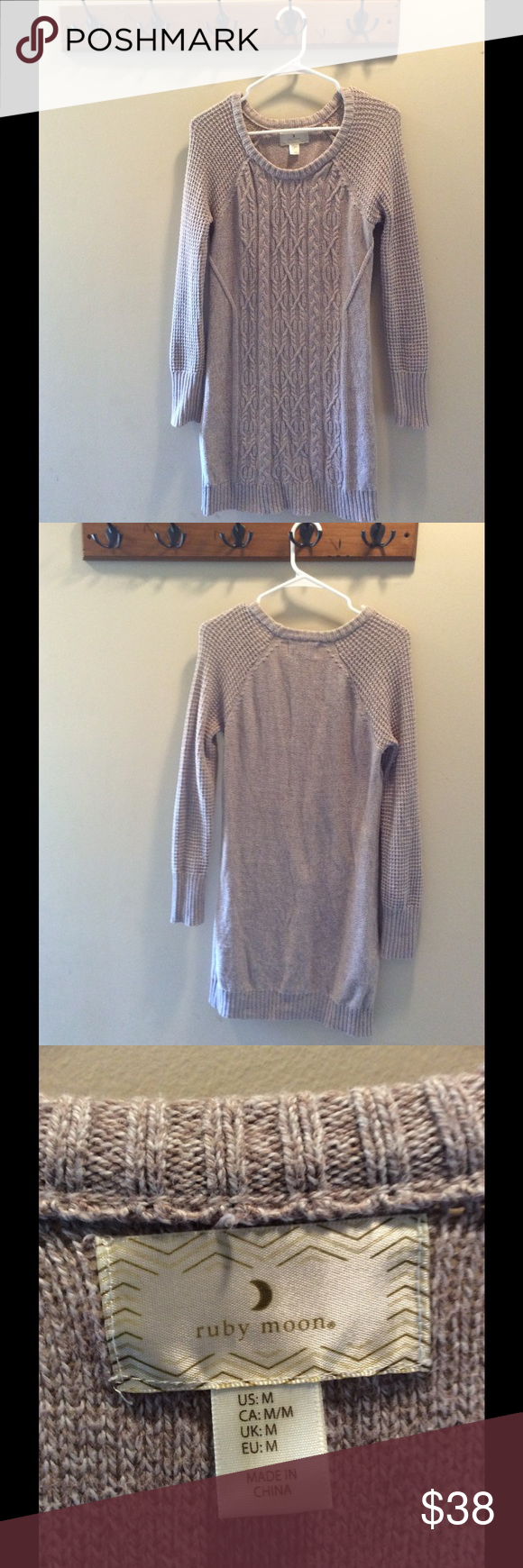 Ruby Moon Knit Sweater Dress Beige Brown Cream Ruby Moon Knit Sweater Dress Beige Brown Cream. In excellent used condition! No snags, no rips, no pilling, and no stains. It looks like new. Ruby Moon Dresses Long Sleeve