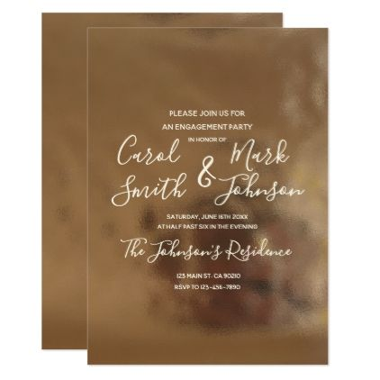 Simple Typography on Faux Creamy Gold Engagement Card - engagement invite templates