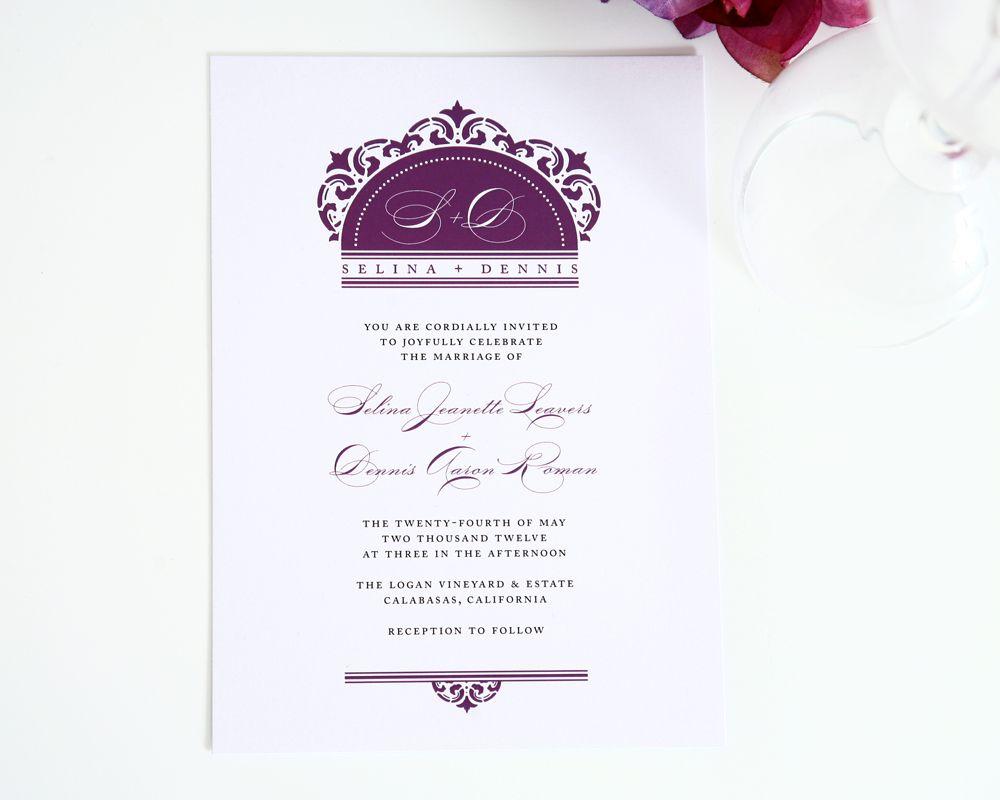 California Damask Wedding Invitations | Purple wedding and Wedding