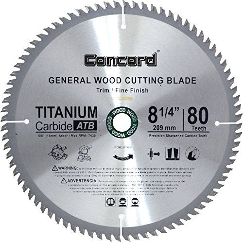 Concord Blades Wcb0825t080hp 8 1 4 Inch 80 Teeth Tct General Purpose Hard Soft Wood Saw Blade 13 83 Pro Qual Circular Saw Blades Best Circular Saw Saw Blade