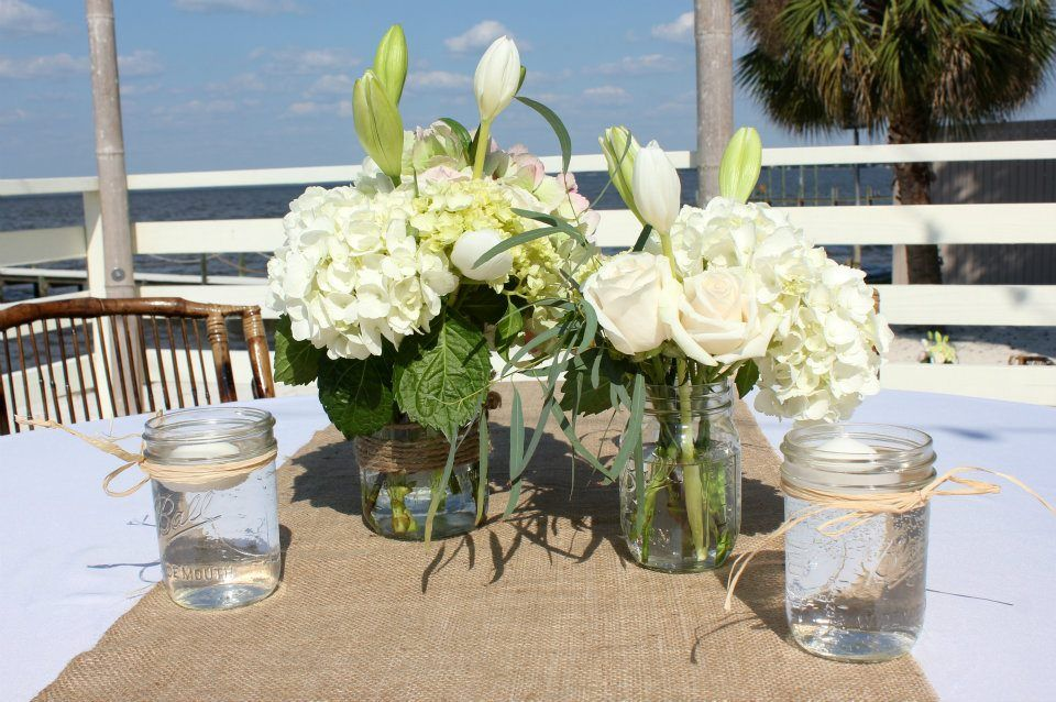 Rustic beach wedding centerpieces burlap mason jars