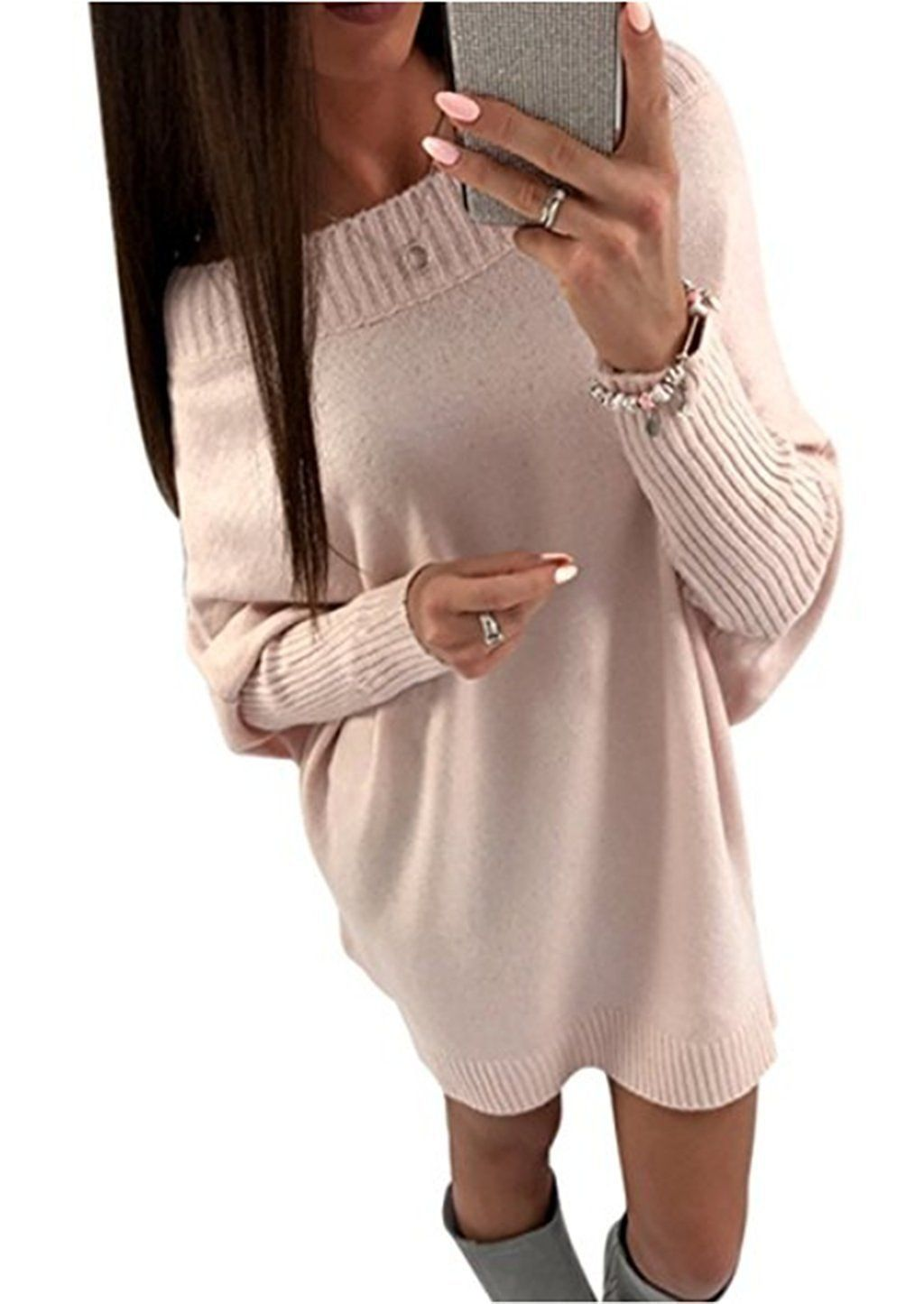 8a6bf7aef3a0 Women Autumn Winter Casual Long Sleeve Sweater Dress Loose Knitted ...