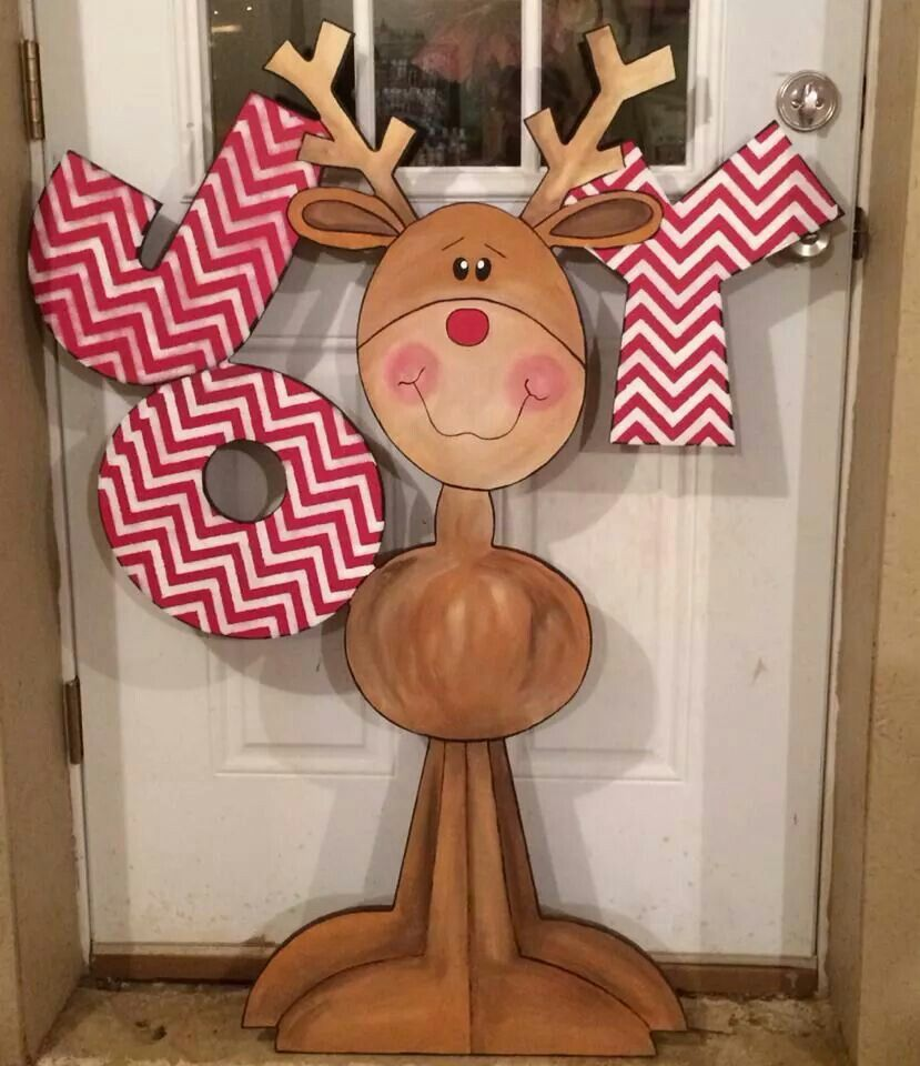 50 christmas reindeer decorations to make pink lover for Wooden christmas cutouts