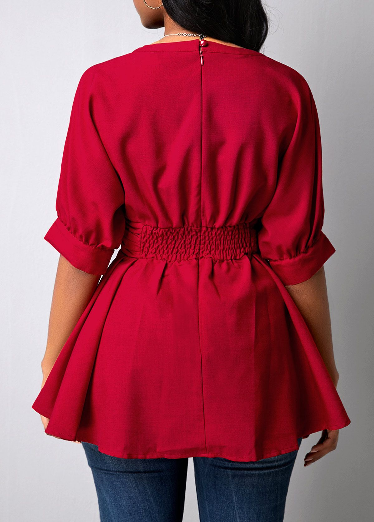 Button Detail Peplum Waist Wine Red Blouse Linkshe Com Usd 30 32 Wine Red Blouse Red Blouses Blouse