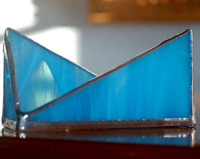 Business Card Holder Wispy Sky Blue Stained Glass Modern Office Decor Desk  Storage And Accessories Modern