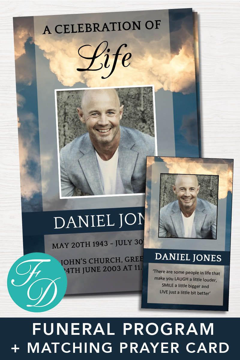 Funeral Program Template - 4 Page Program plus Prayer Card ...