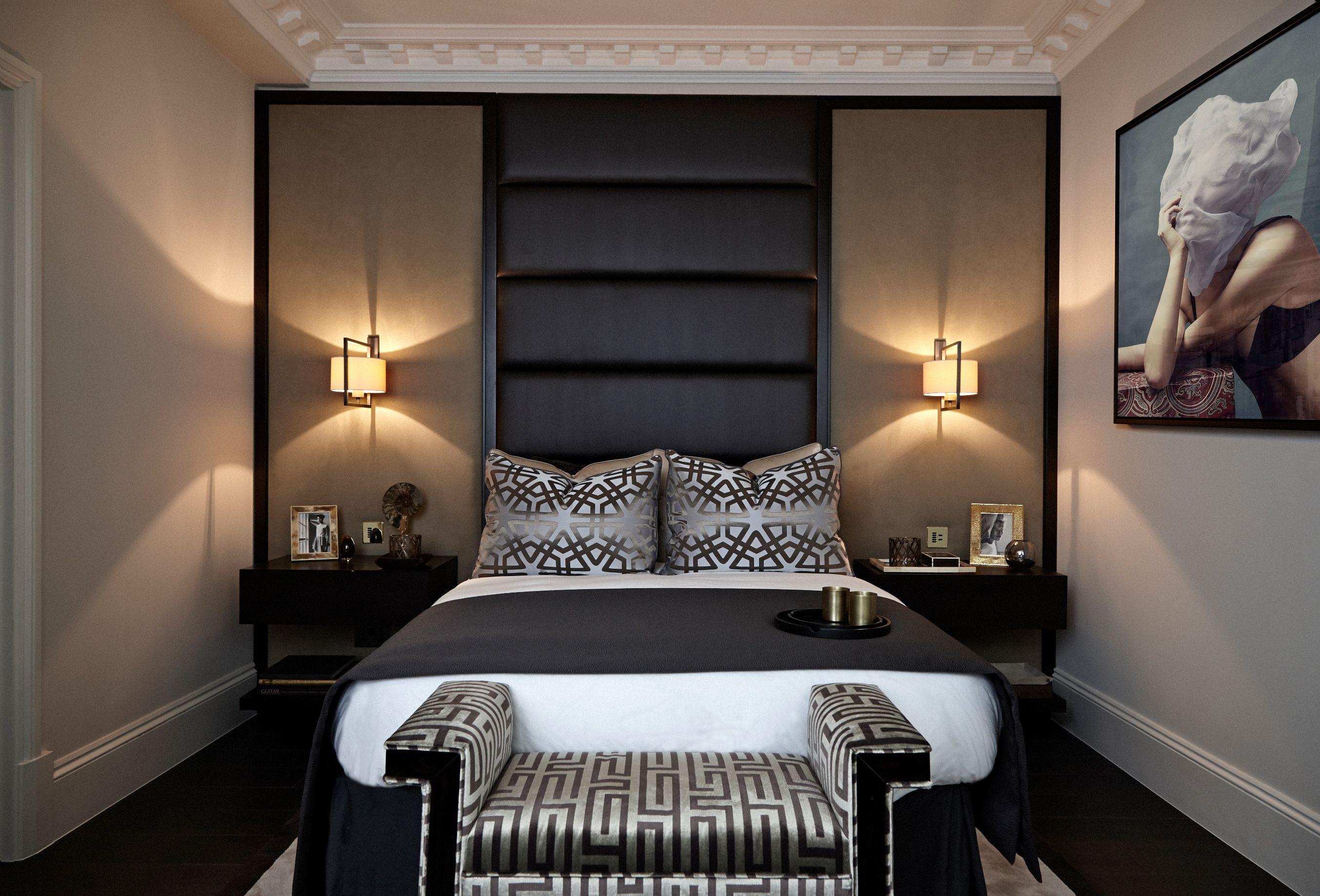 Master Bedroom Bespoke Headboard Wall Wall Lights Luxurious