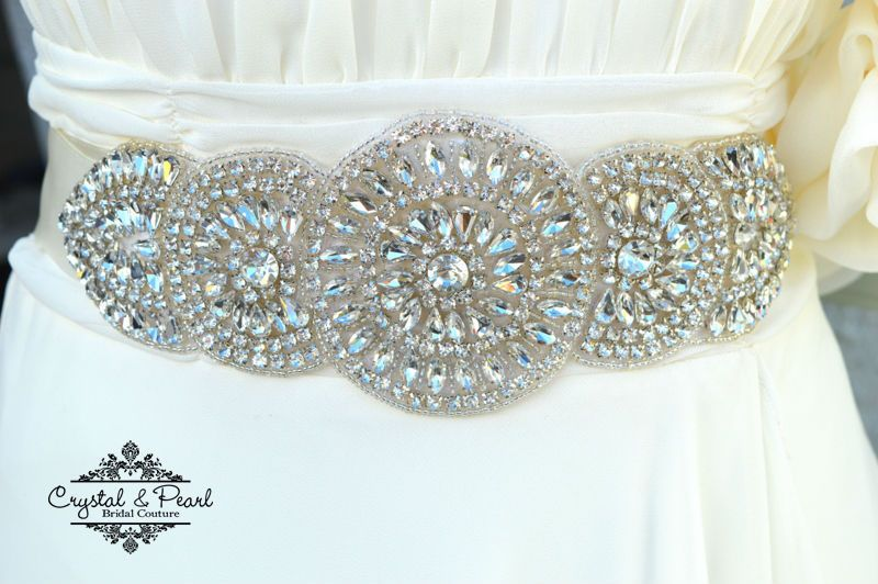 SALE GRECIAN BRIDAL SASH Vintage Clear Crystal Wedding Belt Dress Rhinestone
