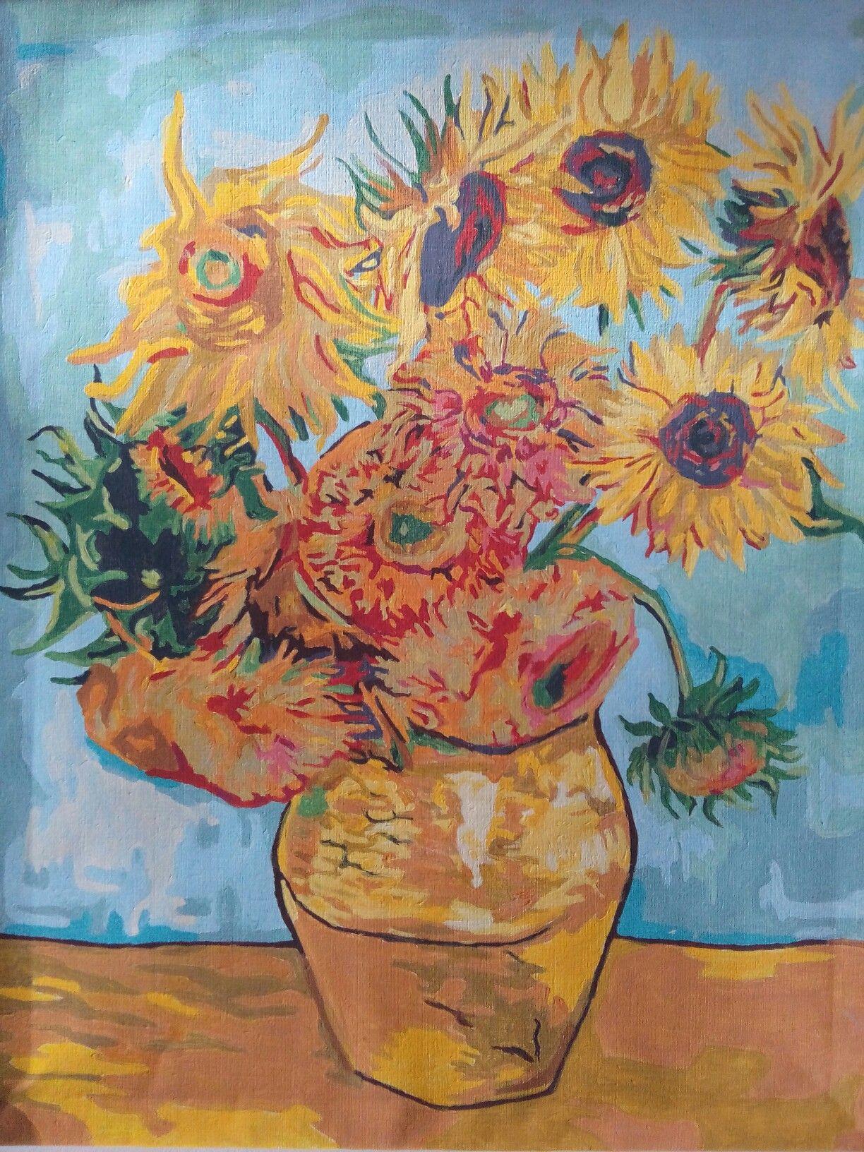 Картины по номерам   Подсолнухи ван гога, Раскраска по ...