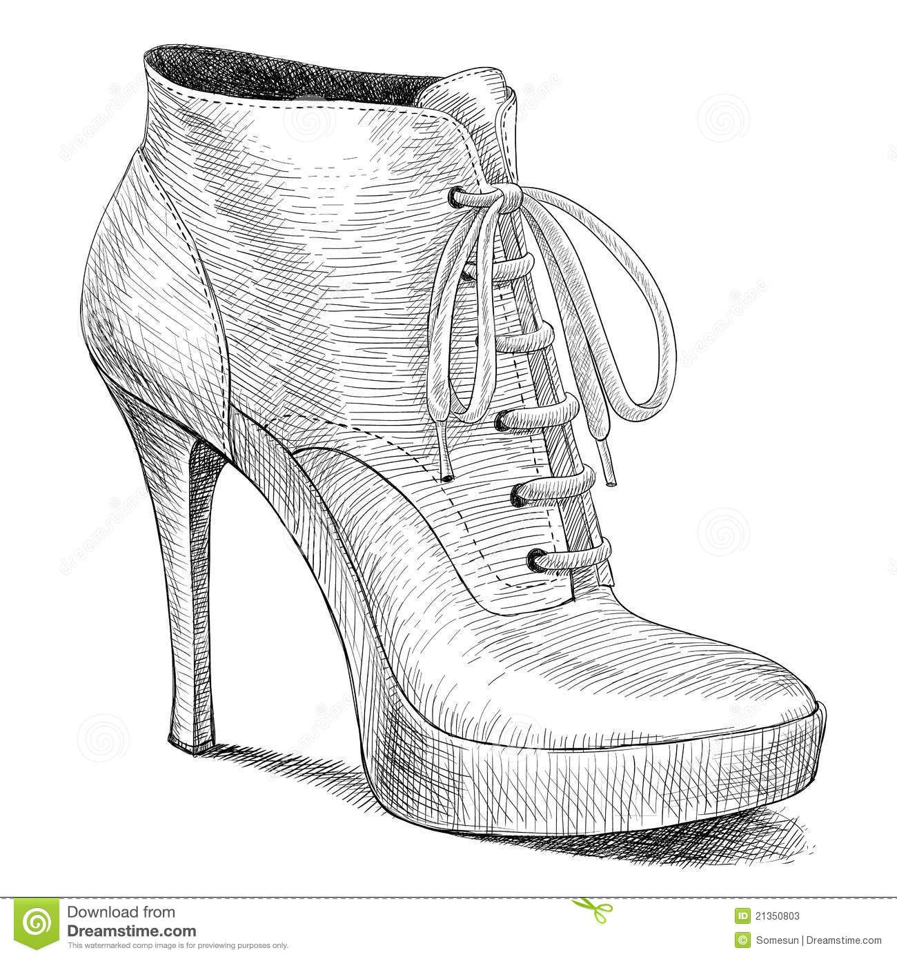 Vector Drawing In Vintage Style Of Woman Shoes Fashion High Heels Shoe Design Sketches High Heel Shoe Boots