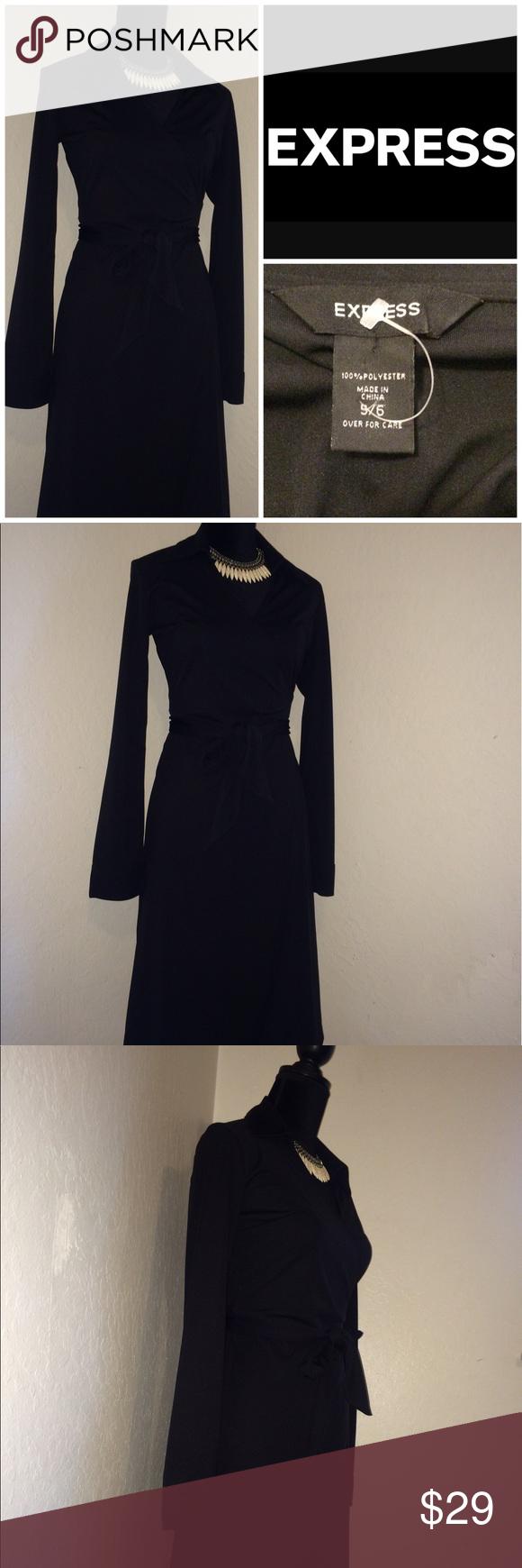 Express black classic wrap long sleeve dress