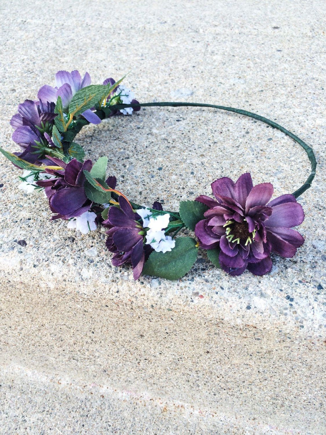 Flower Crown Handmade Floral Crown With Purple White Flowers