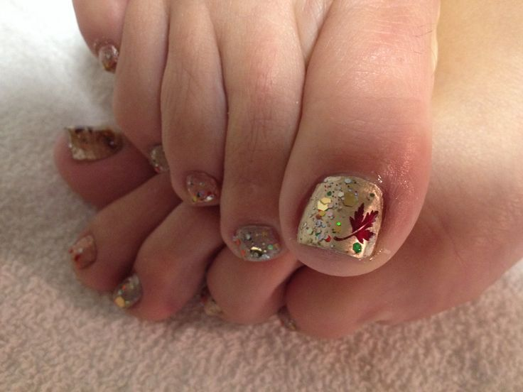 Blinged out Fall Leaf Pedi Nail Art. - Image Result For Fall Toenail Nails And Styles I Like Pinterest
