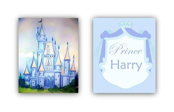 blue castle art print custom name little prince wall art set 2 baby boy nursery prince nursery art personalized art boy nursery decor - Blue Castle Decor