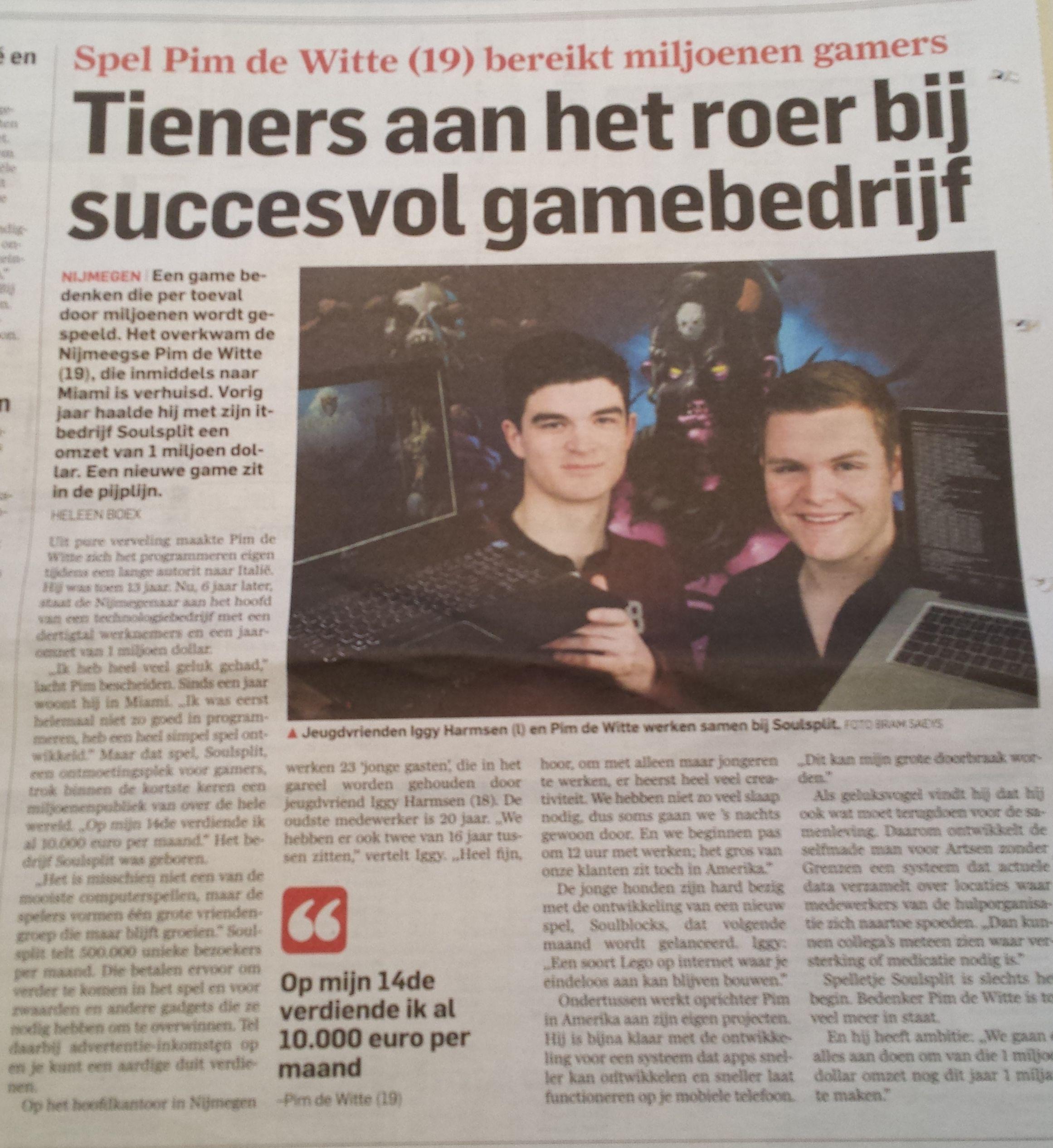 Nederlandse tieners aan het roer bij succesvol gamebedrijf in Miami.  Algemeen Dagblad 27 februari 2014