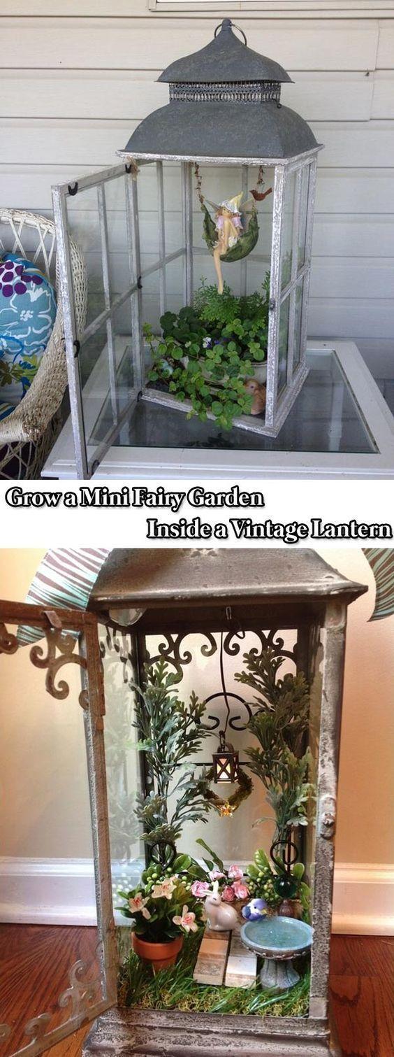 a Mini Fairy Garden Inside a Vintage Lantern - 17 Stunning Fairy Gardens Created by Recycled ThingsGrow a Mini Fairy Garden Inside a Vintage Lantern - 17 Stunning Fairy Gardens Created by Recycled Things