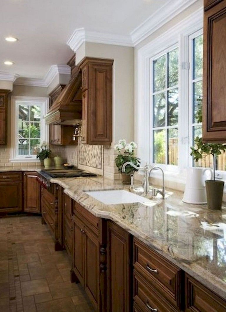 72 Lovely Kitchen Backsplash With Dark Cabinets Decor Ideas Kitchendesign Kitchendecor Kitchenrem Kitchen Renovation Brown Kitchen Cabinets Kitchen Remodel