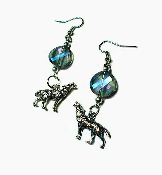 SALE Radiant Silver Howling At The Moon Wolf Charm Drop Earrings w/Translucent Round Twisted Lavender Blue Glass Gemcut Beads FREE SHIPPING - Only $5.95 on Etsy! https://www.etsy.com/listing/251320076/sale-radiant-silver-howling-at-the-moon
