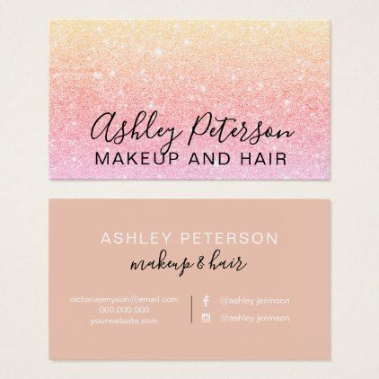 Makeup elegant typography yellow pink glitter business card makeup elegant typography yellow pink glitter business card glitter glamour brilliance sparkle design idea diy reheart Image collections