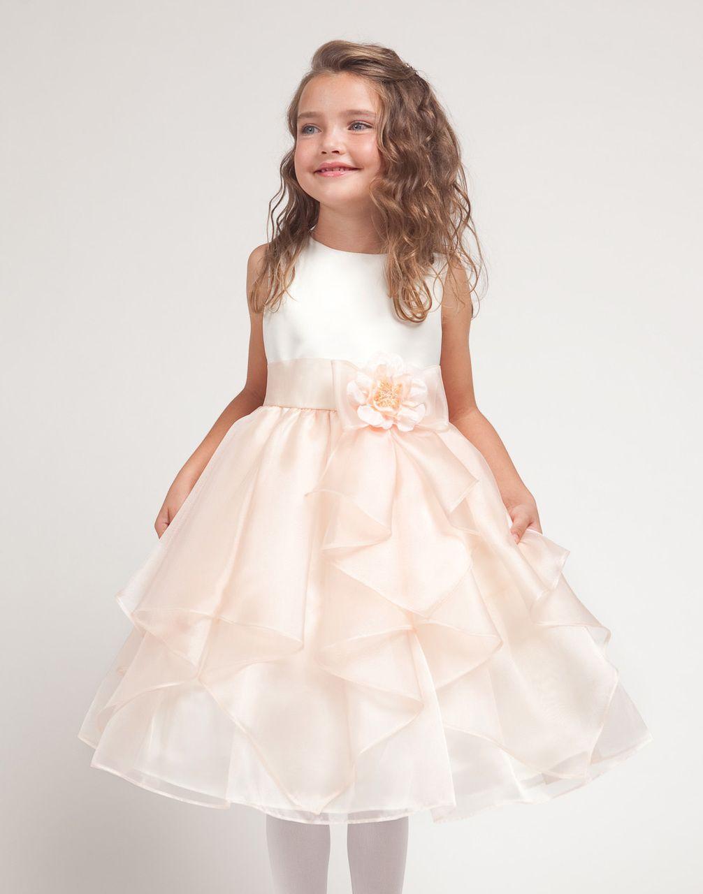 Smooth Satin and Mirror Organza Handkerchief Style Dress  DressCouture